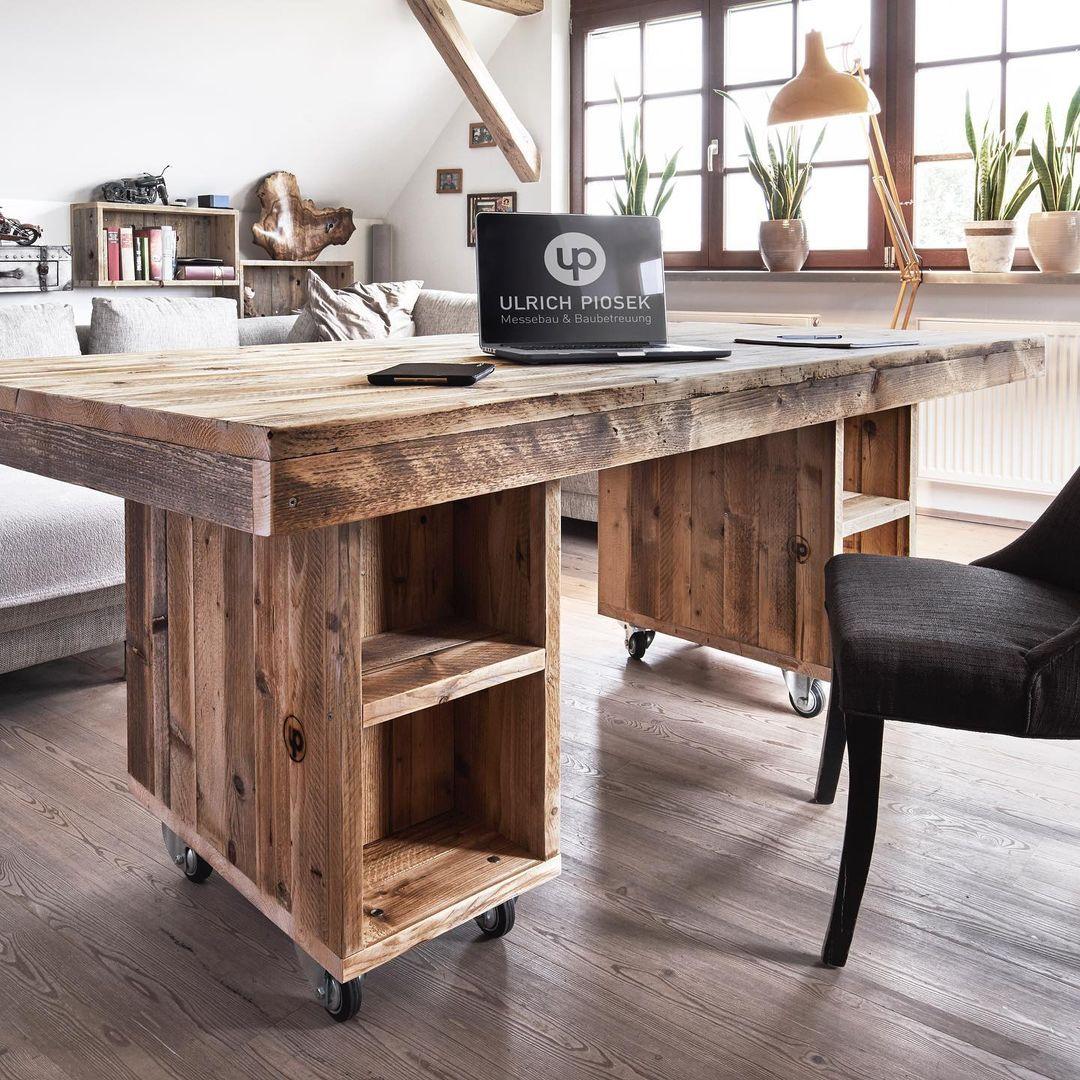 Schreibtisch Bauholz mit  2 Rollcontainern